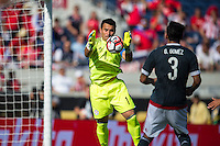 Orlando, Florida - Saturday, June 04, 2016: Paraguayan goalkeeper Justin Villar (1) jumps up to catch a cross during a Group A Copa America Centenario match between Costa Rica and Paraguay at Camping World Stadium.