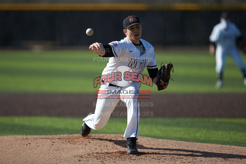 North Greenville Crusaders starting pitcher Ethan Garner (27) delivers a pitch to the plate against the Bellarmine Knights at Ashmore Park on February 7, 2020 in Tigerville, South Carolina. The Crusaders defeated the Knights 10-2. (Brian Westerholt/Four Seam Images)