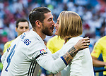 Spanish swimmer Mireia Belmonte Garcia is greeted by Real Madrid's player Sergio Ramos before the La Liga match between Real Madrid vs RC Celta de Vigo at the Santiago Bernabeu Stadium on 27 August 2016 in Madrid, Spain. Photo by Diego Gonzalez Souto / Power Sport Images