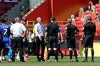 Charlton manager, Lee Bowyer shows his frustration at the final whistle as he talks to referee, Gavin Ward during Charlton Athletic vs Wigan Athletic, Sky Bet EFL Championship Football at The Valley on 18th July 2020
