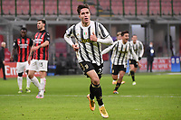 Federico Chiesa of Juventus FC celebrates after scoring the goal of 0-1 during the Serie A football match between AC Milan and Juventus FC at San Siro Stadium in Milano  (Italy), January 6th, 2021. Photo Federico Tardito / Insidefoto