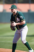 Oakland Athletics first baseman Seth Brown (20) during Spring Training Camp on February 24, 2018 at Lew Wolff Training Complex in Mesa, Arizona. (Zachary Lucy/Four Seam Images)