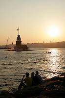 Sunset beyond the Maiden's Tower, Istanbul, Turkey