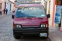"Antigua, Guatemala.  ""God Guides Me"" Motto on Van."