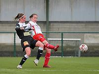 Chloe Van Mingeroet (17) of Eendracht Aalst and Ulrike De Frere (7) of Zulte-Waregem battle for the ball during a female soccer game between SV Zulte - Waregem and Eendracht Aalst on the 9 th matchday in play off 2 of the 2020 - 2021 season of Belgian Scooore Womens Super League , saturday 22 nd of May 2021  in Zulte , Belgium . PHOTO SPORTPIX.BE   SPP   DIRK VUYLSTEKE