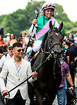 ELMONT, NY - JUNE 11: Javier Castellano, aboard Flintshire, reacts while being led to the winner's circle after winning the Woodford Reserve Manhattan Stakes on Belmont Stakes Day before the 148th Belmont Stakes on June 11, 2016 in Elmont, New York. (Photo by Sue Kawczynsk/Eclipse Sportswire/Getty Images)