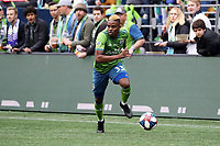 SEATTLE, WA - NOVEMBER 10: Joevin Jones #33 of the Seattle Sounders FC runs with the ball during a game between Toronto FC and Seattle Sounders FC at CenturyLink Field on November 10, 2019 in Seattle, Washington.