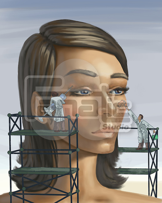 Surgeons working on aging woman's face with syringe and paint while standing on scaffold depicting plastic surgery