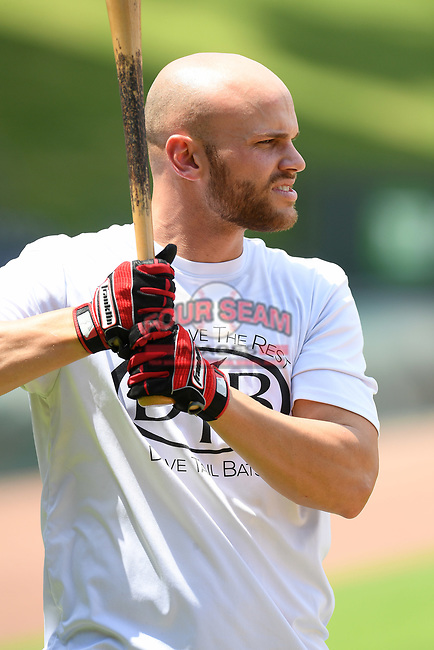 Texas Rangers minor leaguer Hunter Cole works out with local Major League and Minor League players from around the Upstate on Tuesday, June 2, 2020, at Fluor Field at the West End in Greenville, South Carolina. (Tom Priddy/Four Seam Images)