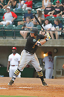 Bristol Pirates infielder Mason Martin (3) at bat during a game against the Greeneville Reds at Pioneer Field on June 19, 2018 in Greeneville, Tennessee. Bristol defeated Greeneville 10-2. (Robert Gurganus/Four Seam Images)