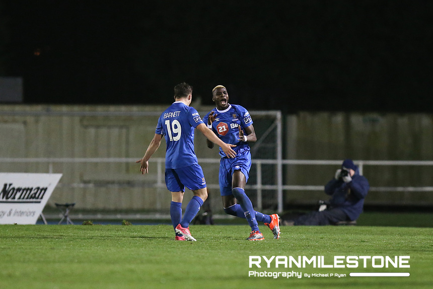 Ismahil Akinade of Waterford celebrates after scoring a goal<br /> during the SSE Airtricity League Premier Division game between Waterford FC and Cork City on Friday 6th April 2018 at The RSC, Waterford. Photo By Michael P Ryan