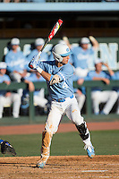 Brandon Martorano (4) of the North Carolina Tar Heels at bat against the Kentucky Wildcats at Boshmer Stadium on February 17, 2017 in Chapel Hill, North Carolina.  The Tar Heels defeated the Wildcats 3-1.  (Brian Westerholt/Four Seam Images)