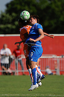 Rosana (11) of Sky Blue FC and Amy LePeilbet (6) of the Boston Breakers go for a header. Sky Blue FC defeated the Boston Breakers 1-0 during a Women's Professional Soccer match at Yurcak Field in Piscataway, NJ, on July 4, 2009.