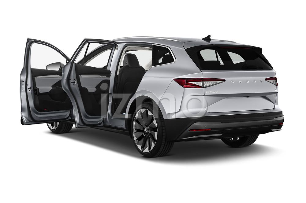 Rear three quarter door view of a 2021 Skoda Enyaq IV 80 SUV