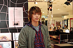"April 26, 2017, Tokyo, Japan - Ren Nagabuchi, Japanese rock singer and a son of Tsuyoshi nagabuchi smiles as he visits the Isetan department store for the opening of ""Rock Time Line"", department store's new event in Tokyo on Wednesday, April 26, 2017. The Isetan department store opened a pop up store of related goods for the next generation rock musicians.   (Photo by Yoshio Tsunoda/AFLO) LwX -ytd-"