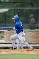 GCL Blue Jays first baseman Troy Squires (8) follows through on a swing during a game against the GCL Phillies East on August 10, 2018 at Carpenter Complex in Clearwater, Florida.  GCL Blue Jays defeated GCL Phillies East 8-3.  (Mike Janes/Four Seam Images)