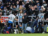 Moussa Sissoko of Newcastle United (right) celebrates scoring their second goal during the Barclays Premier League match between Newcastle United and Swansea City played at St. James' Park, Newcastle upon Tyne, on the 16th April 2016