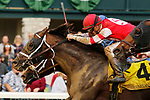 October 23, 2021: He'smyhoneybadger #4 ridden by jockey Florent Geroux holds off a late closing Ram #3 ridden by jockey Rafael Bejarano to win the Perrville Stakes at Keeneland Racecourse in Lexington, KY on October 23, 2021.  Candice Chavez/ESW/CSM