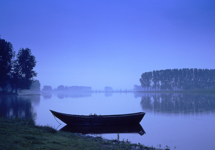 Europe, DEU, Germany, Northrhine Westfalia, Lower Rhine, Xanten, Nature Reserve, Bislicher Insel, Old Boat, Twilight.....[ For each utilisation of my images my General Terms and Conditions are mandatory. Usage only against use message and proof. Download of my General Terms and Conditions under http://www.image-box.com or ask for sending. A clearance before usage is necessary...Material is subject to royalties. Each utilisation of my images is subject to a fee in accordance to the present valid MFM-List...Contact | archive@image-box.com | www.image-box.com ]