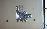 Statue suspended from a ceiling, University of Surrey.