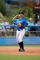 Hudson Valley Renegades third baseman Kaleo Johnson (27) throws to first base during a game against the Tri-City ValleyCats on August 24, 2018 at Dutchess Stadium in Wappingers Falls, New York.  Hudson Valley defeated Tri-City 4-0.  (Mike Janes/Four Seam Images)