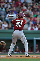 Matt Williams (48) of the South Carolina Gamecocks bats in a game against the Furman Paladins on Wednesday, April 20, 2016, at Fluor Field at the West End in Greenville, South Carolina. (Tom Priddy/Four Seam Images)