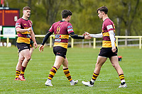 Will FOSTER (11) of Ampthill celebrates after he scores his team's first try during the Greene King IPA Championship match between Ampthill RUFC and Jersey Reds at Dillingham Park, Ampthill, England on 1 May 2021. Photo by David Horn.