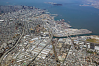 aerial photograph Produce District Highway 101 and Highway 280 Potrero Hill and Mission Bay toward Financial District San Francisco, California