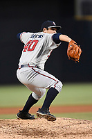 Pitcher Thomas Burrows (40) of the Rome Braves delivers a pitch in a game against the Columbia Fireflies on Monday, July 3, 2017, at Spirit Communications Park in Columbia, South Carolina. Columbia won, 1-0. (Tom Priddy/Four Seam Images)