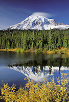 Mount Rainier reflection on Reflection Lakes in autumn, Reflection Lakes, Mount Rainier National Park, Lewis County, WA