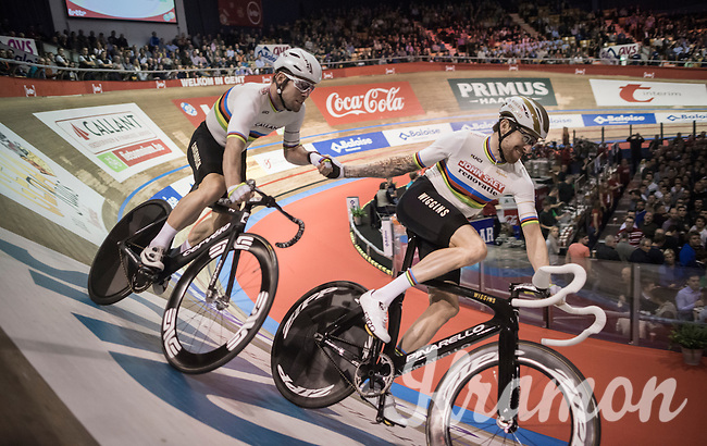 Sir Bradley Wiggins (GBR/Wiggins) slings Mark Cavendish (GBR/Dimension Data) around the track<br /> <br /> <br /> 2016 Gent 6<br /> day 4
