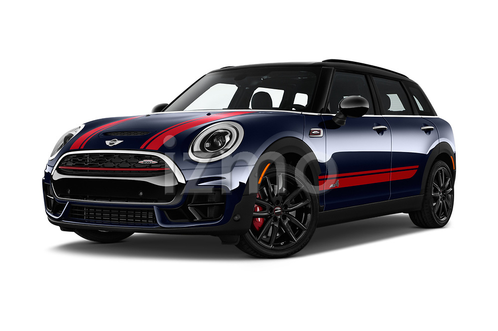 Stock pictures of low aggressive front three quarter view of a 2019 Mini Clubman John Cooper Works ALL4 5 Door Wagon