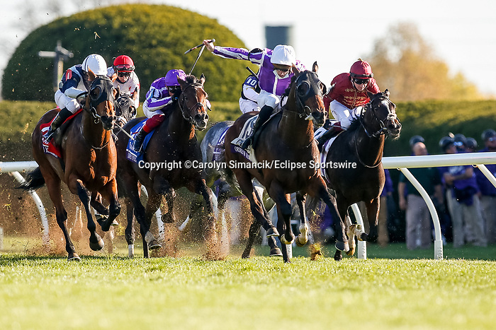 November 7, 2020 : Order of Australia, ridden by Pierre-Charles Boudot, wins the FanDuel Mile presented by PDJF on Breeders' Cup Championship Saturday at Keeneland Race Course in Lexington, Kentucky on November 7, 2020. Carolyn Simancik/Breeders' Cup/Eclipse Sportswire/CSM
