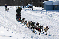 Tim Osmar and Rachel Scordis arrive at Grayling on Sunday afternoon.  Iditarod 2009