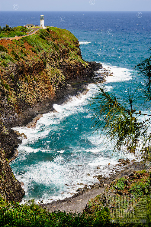 Kilauea Lighthouse on rocky headland overlooking the ocean, Kaua'i.