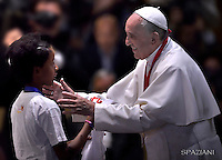 Pope Francis  meeting with 400 children at the Vatican ,May 28, 2016