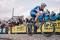 Niki Terpstra (NED/Quick-Step Floors) leading the race over the last ascent Paterberg<br /> <br /> 102nd Ronde van Vlaanderen 2018 (1.UWT)<br /> Antwerpen - Oudenaarde (BEL): 265km