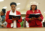 (R) Deaconess Edna Craig and wife of Rev. Dan Craig singing at Mount Sion Baptist Church in Brooklyn, New York.