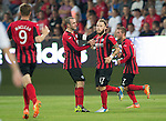 Spartak Trnava v St Johnstone...07.08.14  Europa League Qualifier 3rd Round<br /> Stevie May celebrates his goal with Dave Mackay<br /> Picture by Graeme Hart.<br /> Copyright Perthshire Picture Agency<br /> Tel: 01738 623350  Mobile: 07990 594431