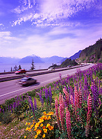 "Scenic ""Sea to Sky"" Highway (Hwy 99) from Vancouver to Whistler, BC, British Columbia, Canada - Howe Sound and Coast Mountains in Distance"