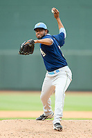 Myrtle Beach Pelicans relief pitcher Francisco Mendoza (16) in action against the Winston-Salem Dash at BB&T Ballpark on July 7, 2013 in Winston-Salem, North Carolina.  The Pelicans defeated the Dash 4-2 in game one of a double-header.  (Brian Westerholt/Four Seam Images)
