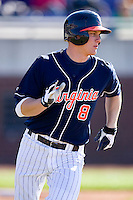 John Hicks #8 of the Virginia Cavaliers hustles down the first base line versus the East Carolina Pirates at Clark-LeClair Stadium on February 20, 2010 in Greenville, North Carolina.   Photo by Brian Westerholt / Four Seam Images