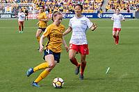 Sandy, UT - Saturday April 14, 2018: Becky Sauerbrunn, Yuki Nagasato during a regular season National Women's Soccer League (NWSL) match between the Utah Royals FC and the Chicago Red Stars at Rio Tinto Stadium.