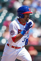 Buffalo Bisons outfielder Dalton Pompey (37) runs to first during a game against the Columbus Clippers on July 19, 2015 at Coca-Cola Field in Buffalo, New York.  Buffalo defeated Columbus 4-3 in twelve innings.  (Mike Janes/Four Seam Images)