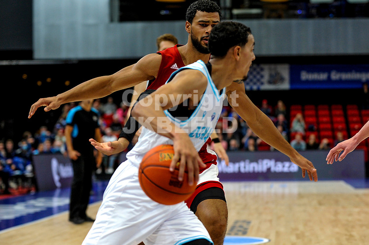 GRONINGEN - FIBA Basketbal-bubbel. finale, Donar - Lisboa Benfica seizoen 2021-2022, 01-10-2021, Donar speler Marquis Addison
