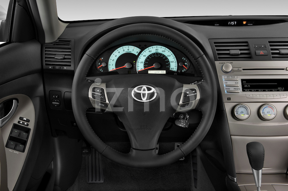 Steering wheel view of a 2010 Toyota Camry SE V6