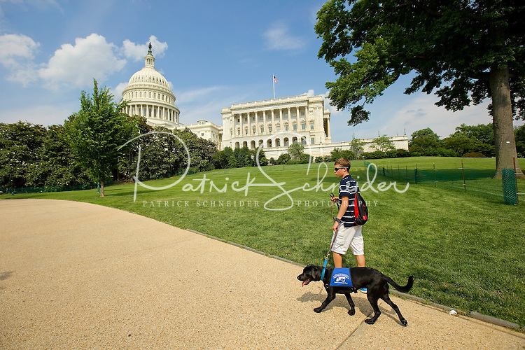 Guide-dog-in-training Kajsa tours Washington, DC, with her volunteer puppy raiser. Kajsa is being raised for the Southeastern Guide Dogs program.
