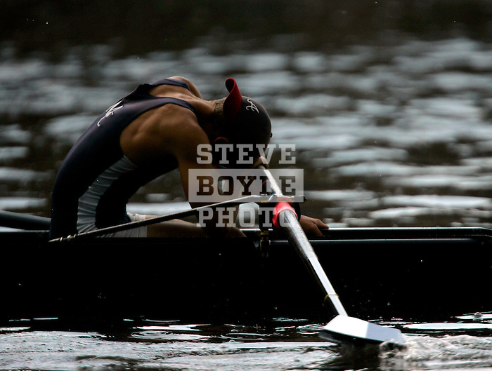 A rower from Marietta reacts after crossing the finish line in the Men's Varsity Lightweight Four Final during the 68th Dad Vail Regatta on the Schuylkill River in Philadelphia, Pennsylvania on May 13, 2006........................