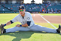 Tacoma Rainiers pitcher Roenis Elias (27) warms up before pacific coast league baseball game, Saturday August 16, 2014 in Round Rock, Tex. Tacoma Rainiers win game one of the best of four series 8-7. (Mo Khursheed/TFV Media via AP Images)