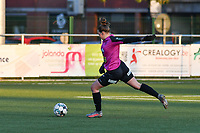 Goalkeeper Silke Baccarne (1) of Eendracht Aalst in action pictured during a female soccer game between  Racing Genk Ladies and Eendracht Aalst on the 5 th matchday of play off 2 in the 2020 - 2021 season of Belgian Scooore Womens Super League , friday 7 th of May 2021  in Genk , Belgium . PHOTO SPORTPIX.BE | SPP | JILL DELSAUX